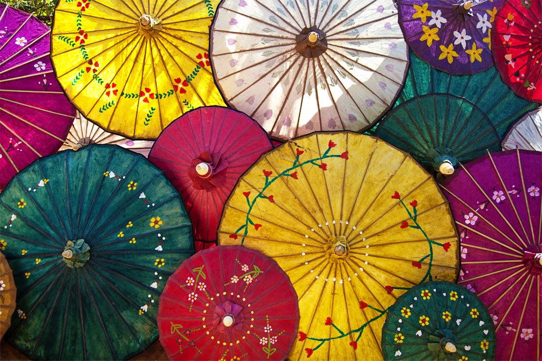 Painted umbrellas on Inle Lake