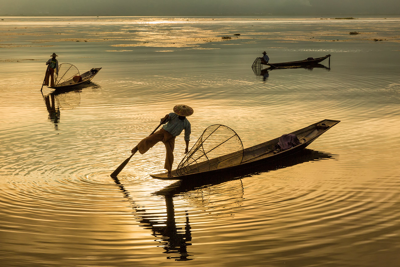 The Inle Lake fisherman at sunrise