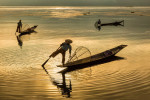 The Inle Lake fisherman at sunrise in Burma