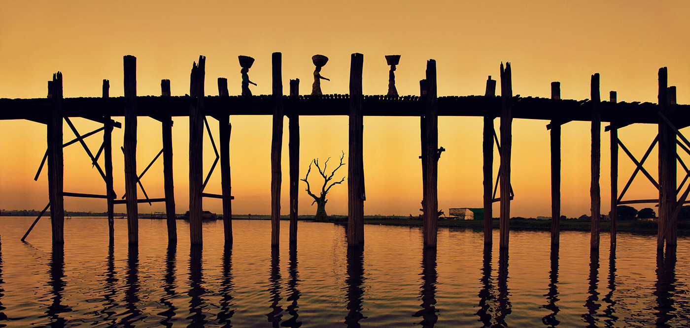 The Ubein Bridge in Mandalay, Burma