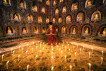 Monk praying by candlelight in his monastery