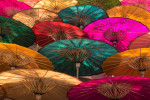 Painted parasols in Burma