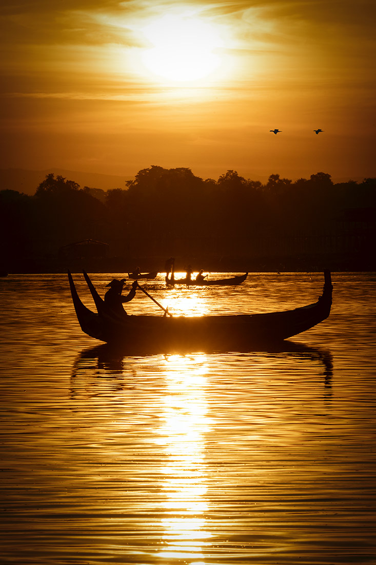 Fisherman at sunrise in Burma