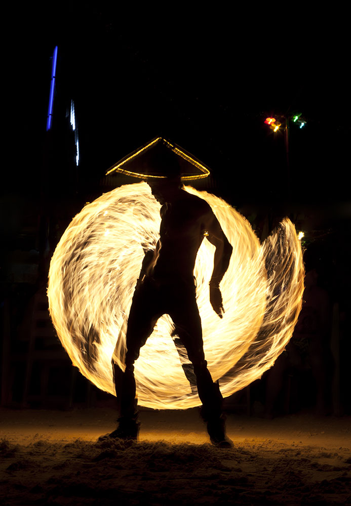 Fire dancers on Koh Phan Gan, Thailand