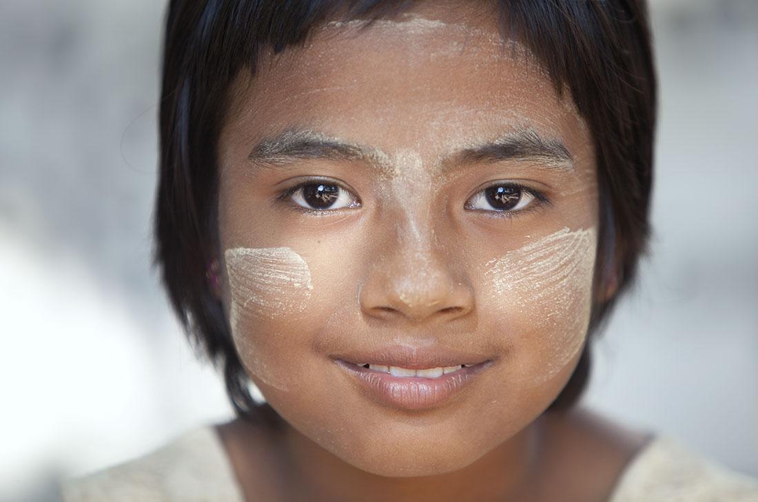 Thanaka face paint on my little friend
