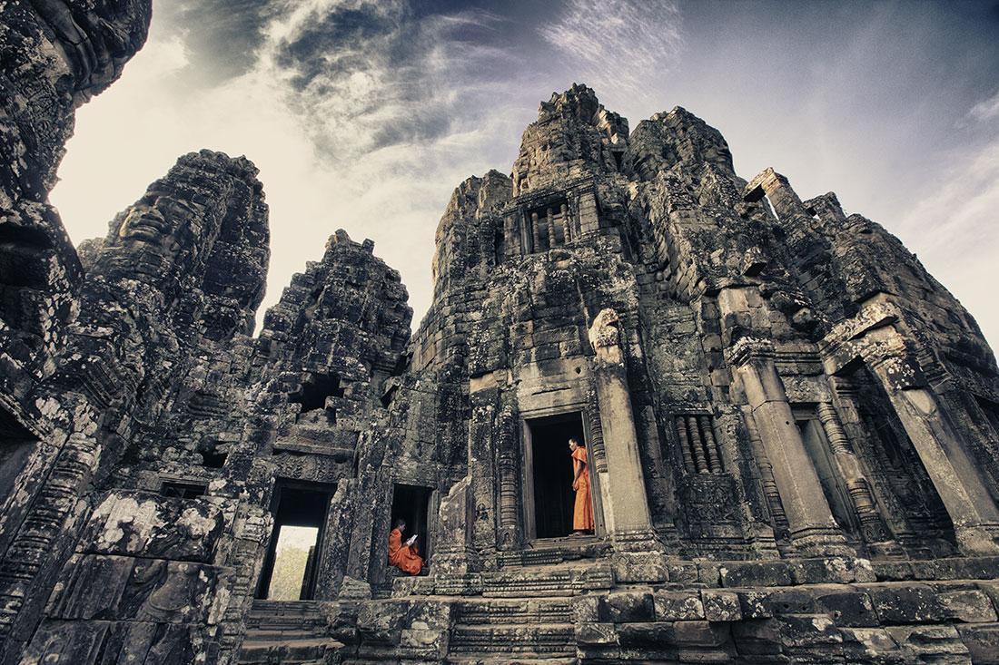 Monks at the Bayon in Angkor Wat