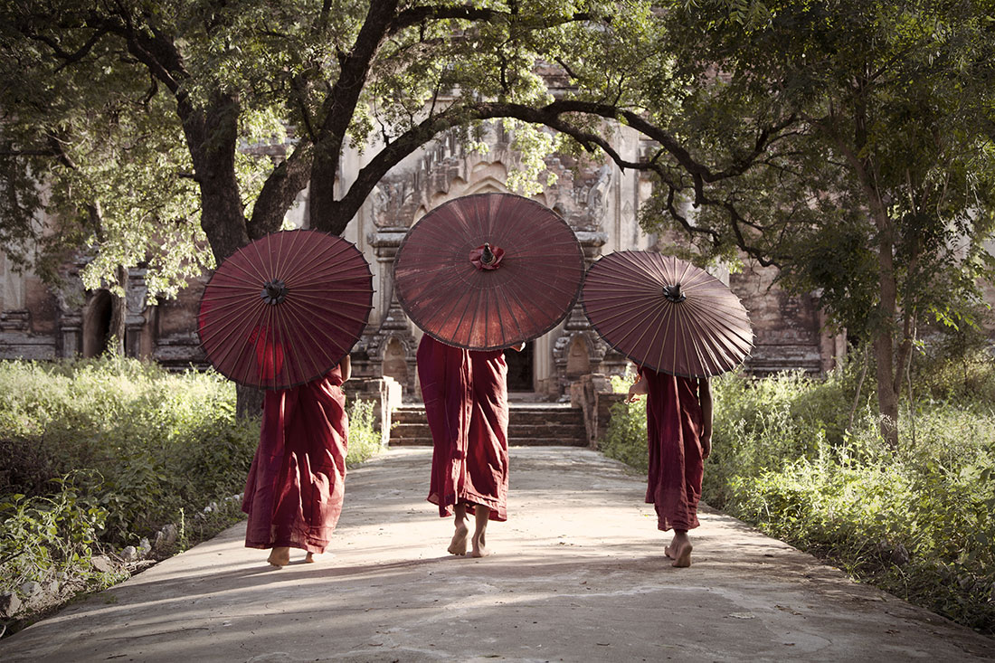 Strolling to their temple in Bagan