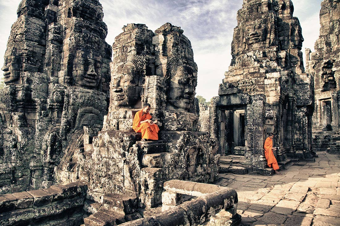 Monks at the Bayon in Angkor Wat