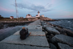 Holly photographing Eastern Lighthouse in Rockport
