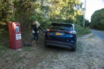 Holly gettting gas in Marthas Vineyard