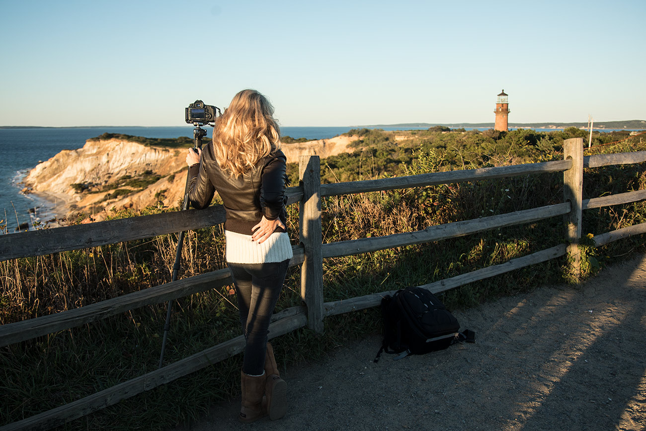 Holly shooting Gay Head Lighthouse
