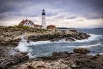 Portland Head Lighthouse in Maine at sunrise
