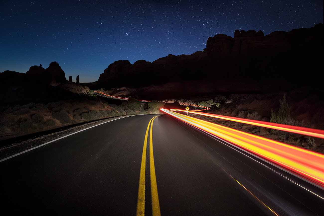 Car trails in Arches National Park