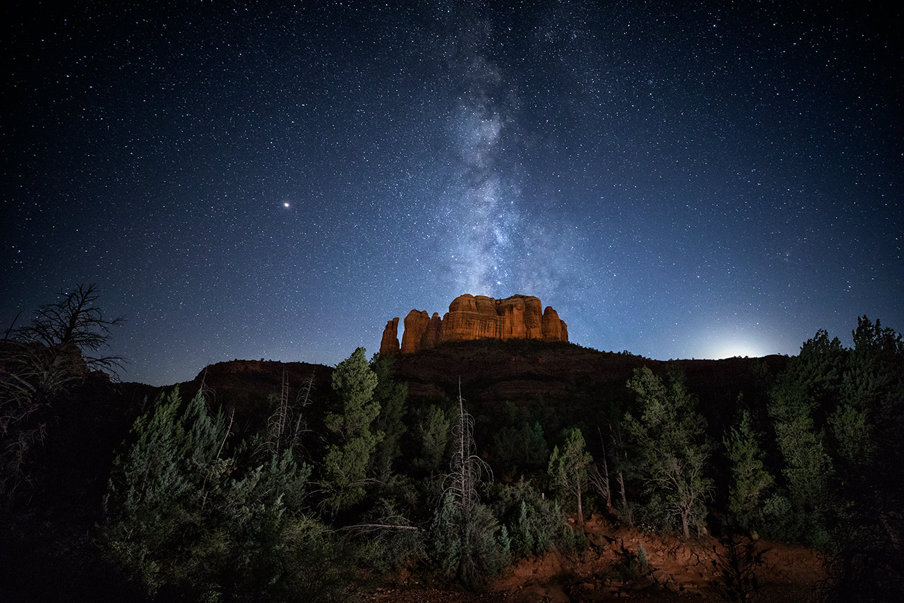 Cathedral Rock and Milky Way