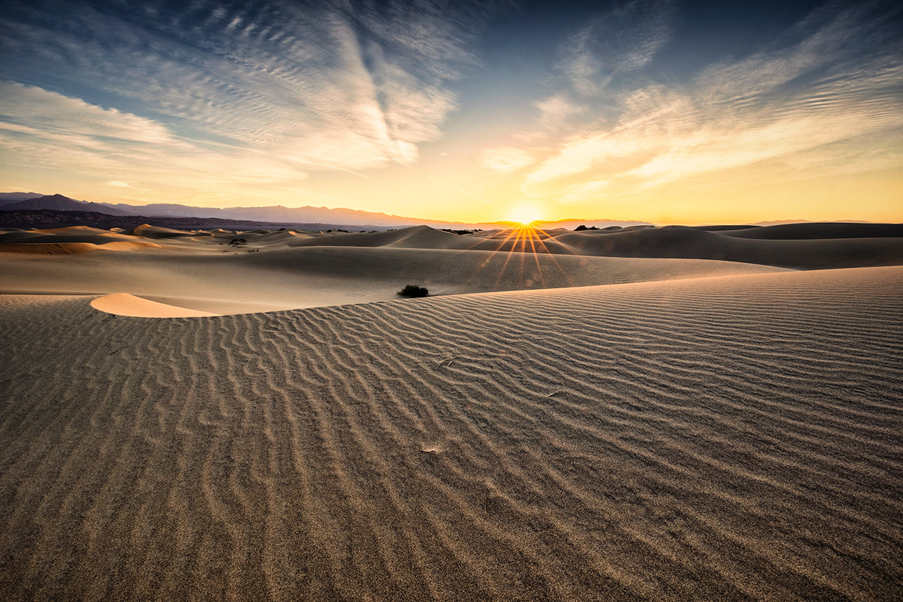 First light on the Mesquite sand dunes