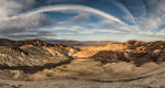 Panorama of Zabriski Point at sunrise