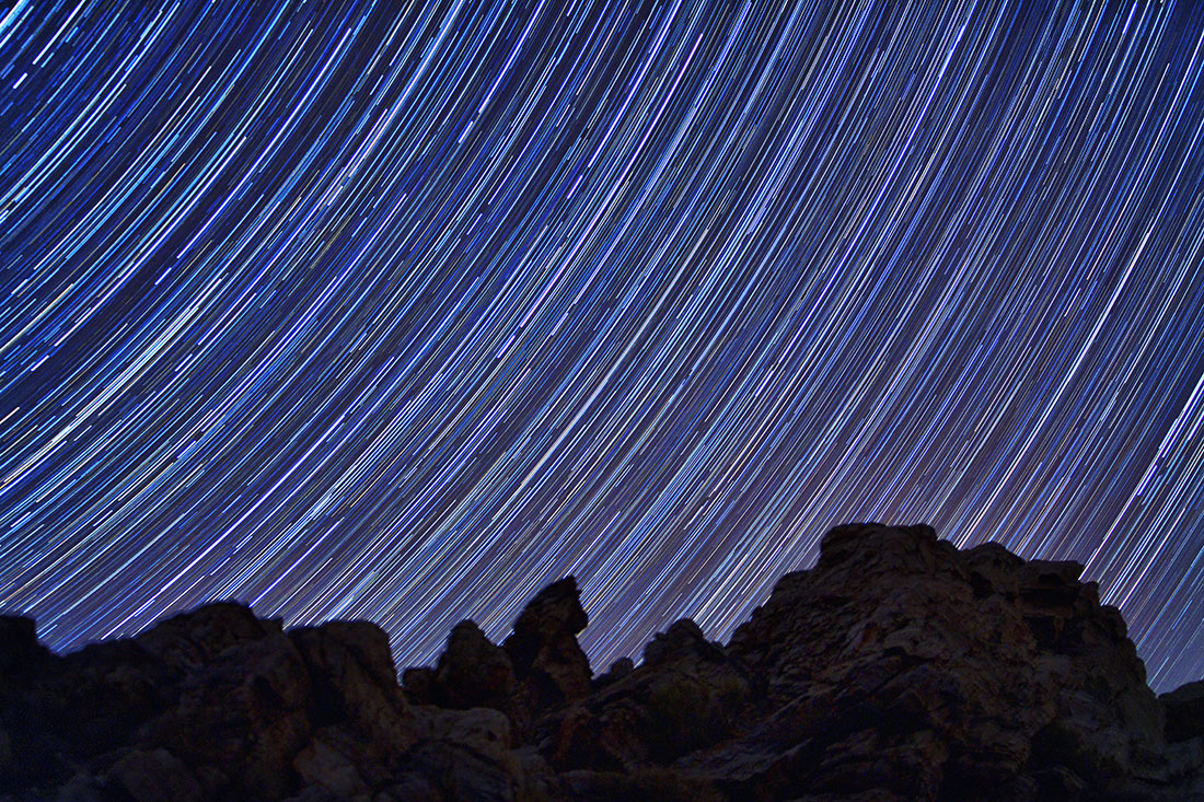 Star trails over Aguereberry Point