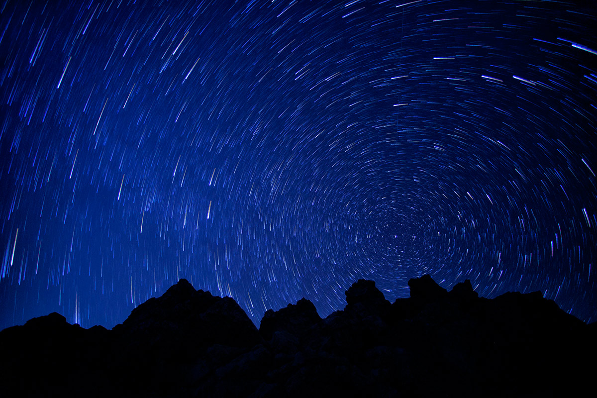 Star trails over Death Valley