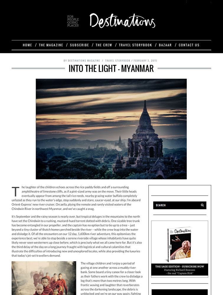 Article on Burma by Destinations Magazine