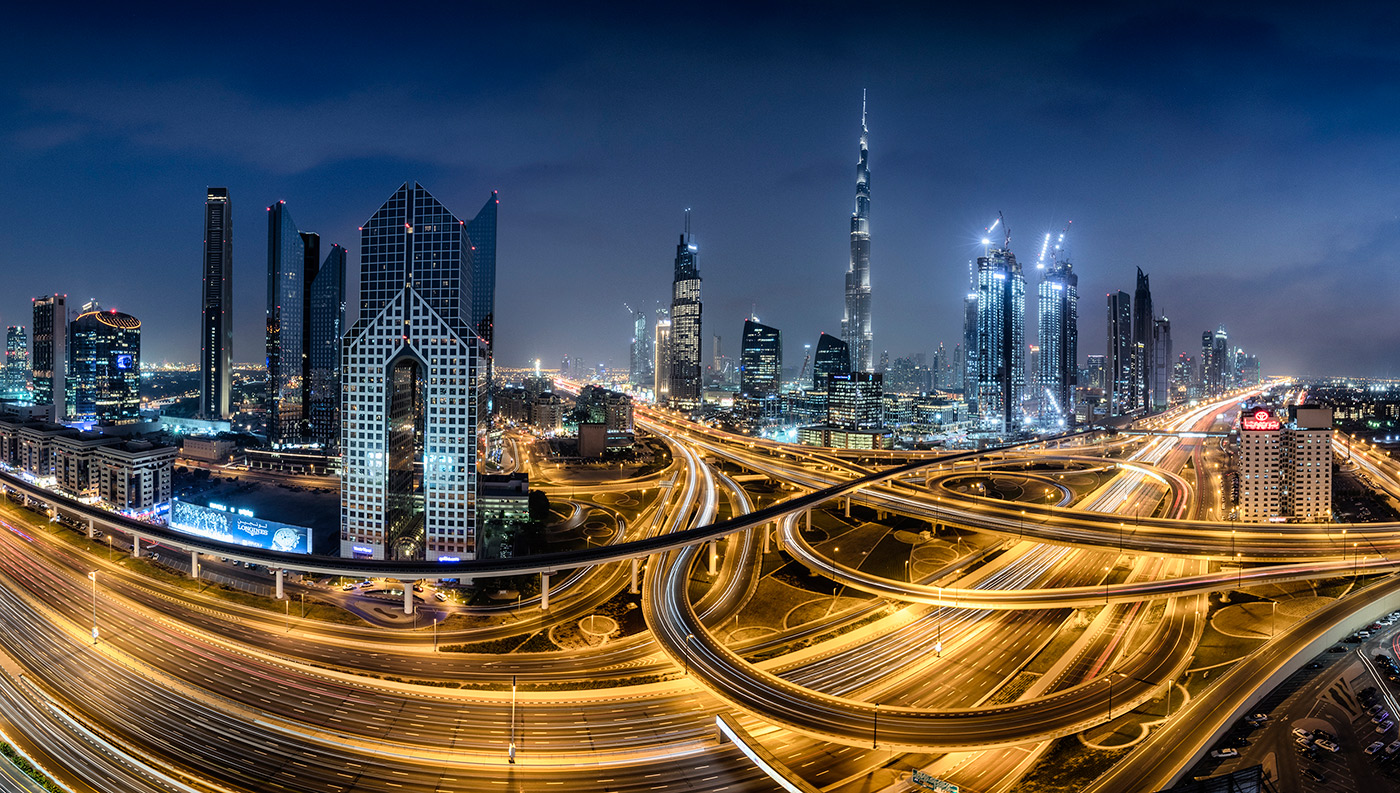 The Burj Khalifa and skyline of Dubai