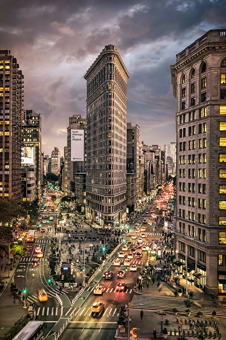 Rare view of the Flatiron Building in New York