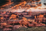 Picturesque Hunts Mesa rock formation in Monument Valley, Utah