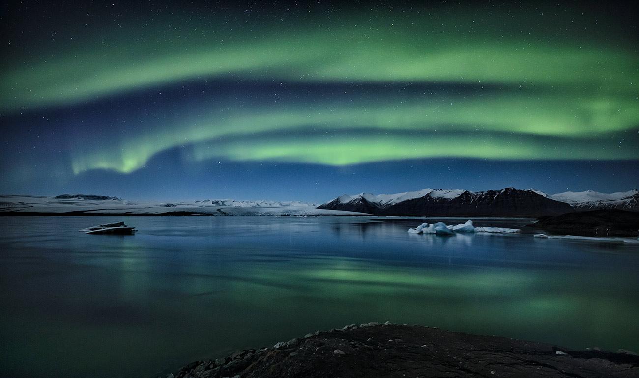 Aurora Borealis over Jokulsarlon Lagoon