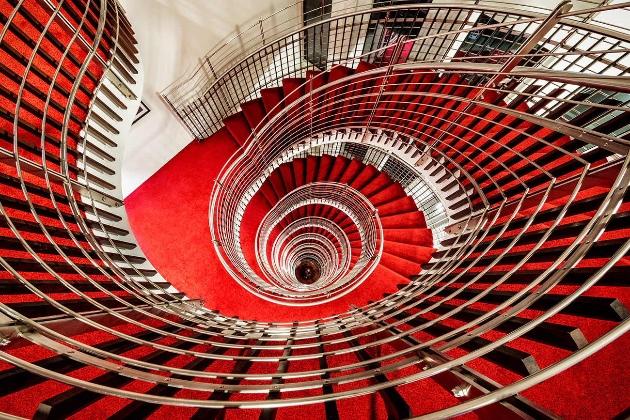 The spiral staircase at the Hilton Nordica