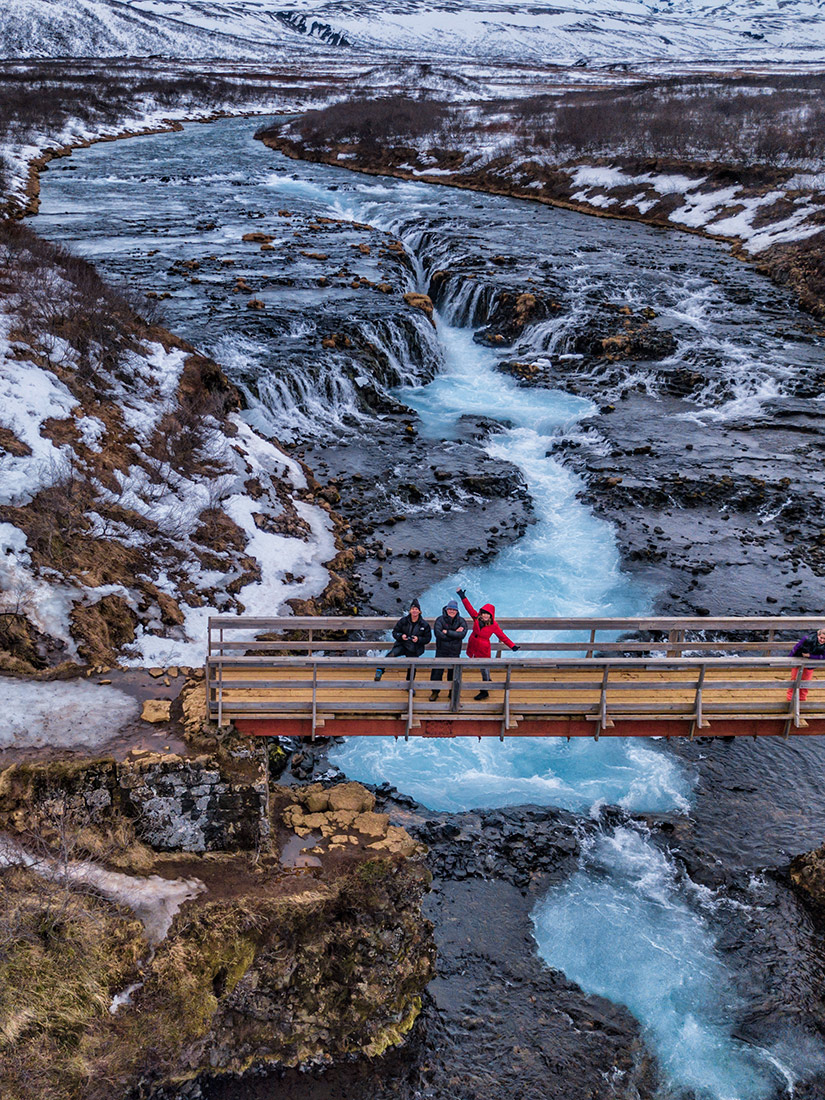 Jim, Holly and Scotty over Bruarfoss Falls