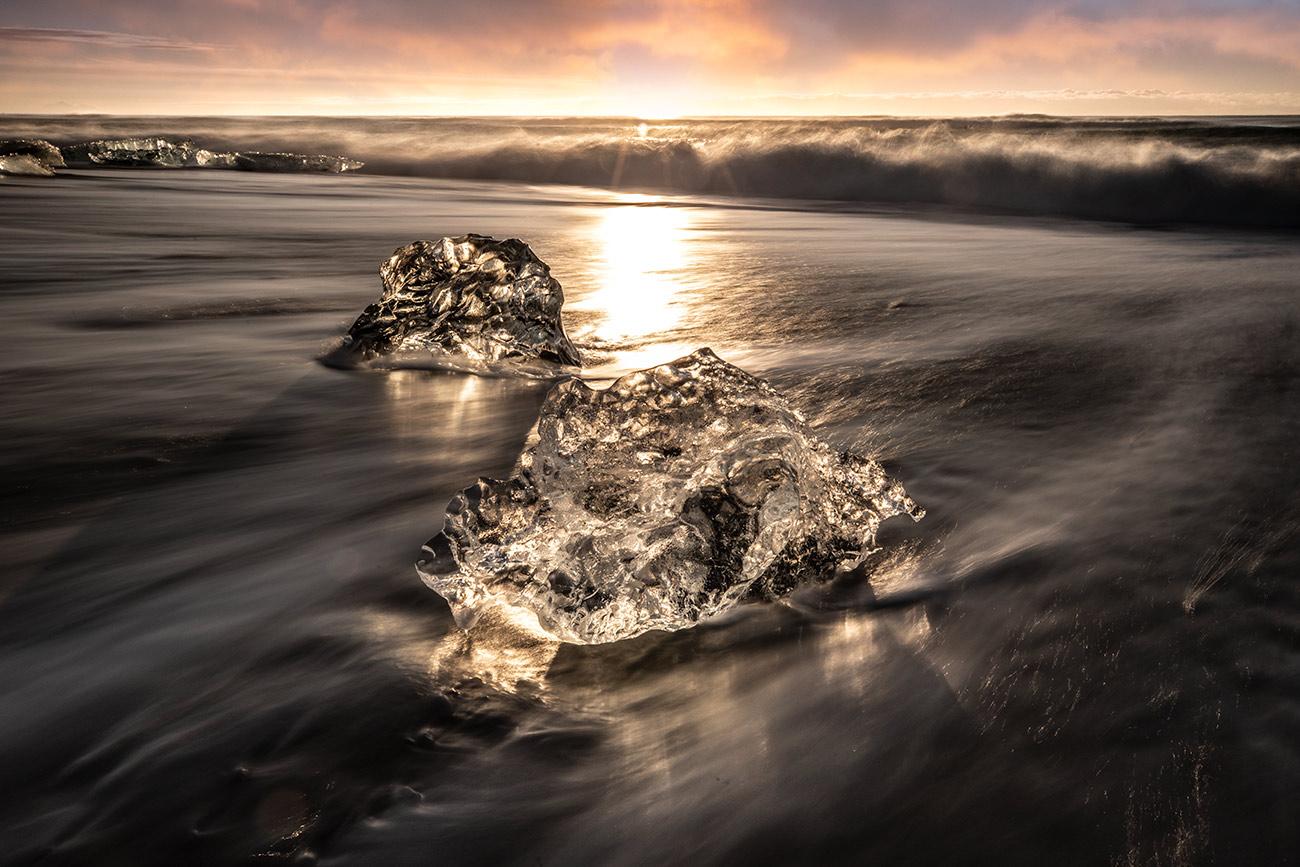 Iceberg at sunrise at the Jokulsarlon Lagoon