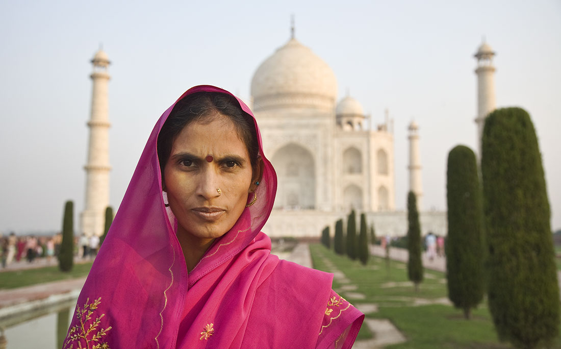 Woman Wearing Sari The Taj Mahal India Far Away Places Scott