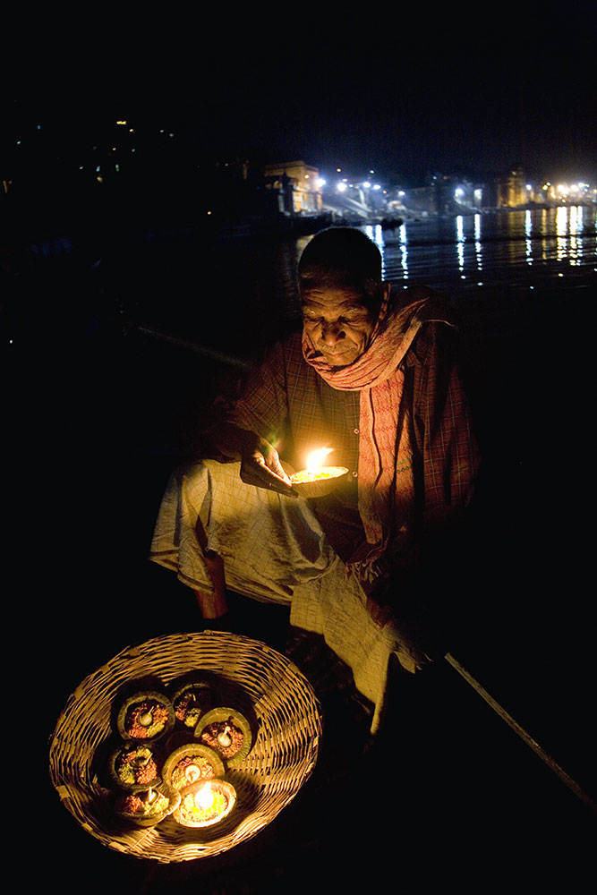 In a boat on the way to the Fire Puja ceremony in the  Ganja Ghat