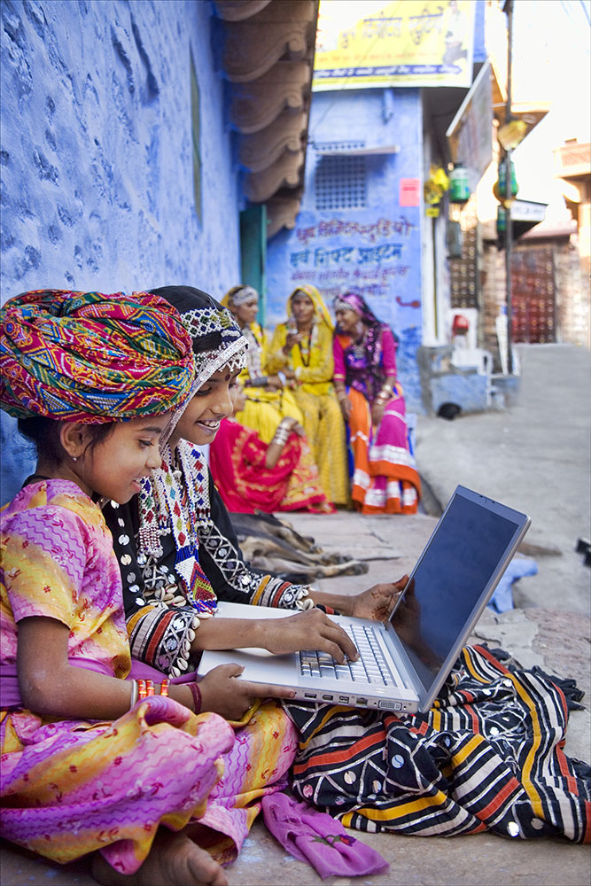 in the beautiful blue walled city of Jodphur Rajistan, India