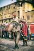 The elephants and trainers by Amber Fort, Jaipur