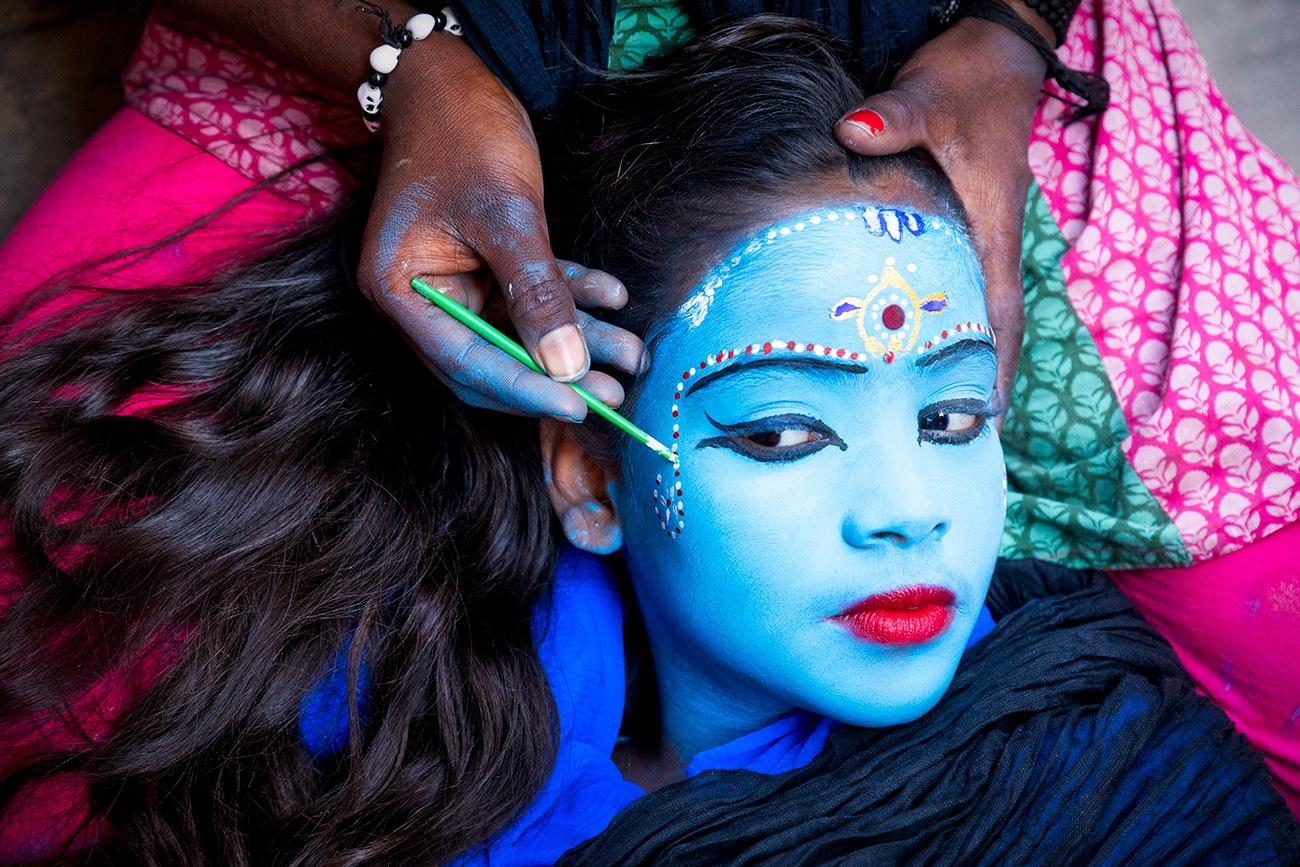 Face painting my beautiful friend in Varinasi