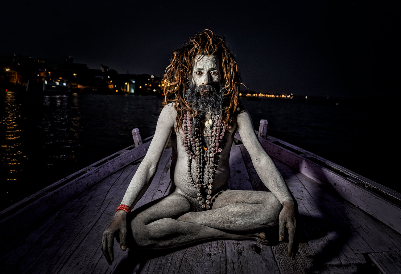 Sadhu on my boat after dark in Varinasi