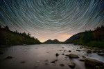 Star trails over Jordan Pond in Acadia NP