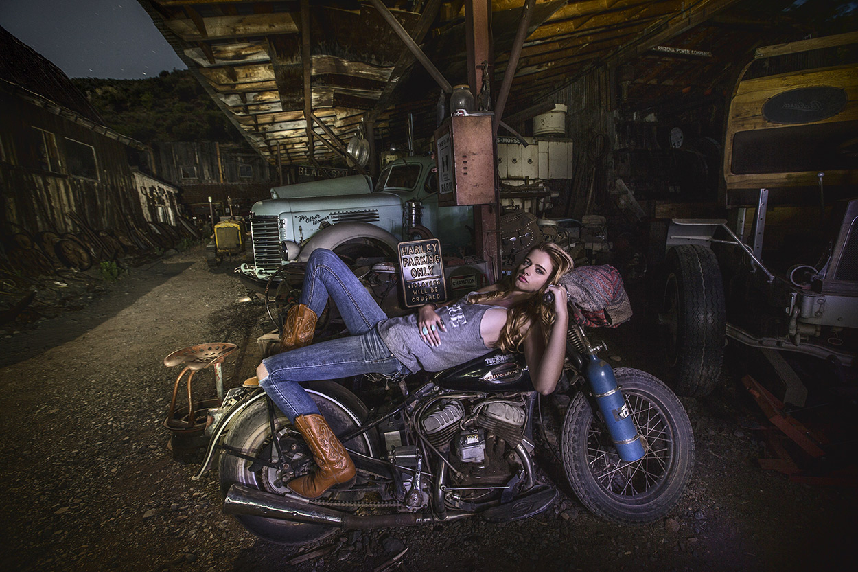 Cool Leah on a Harley, Photofest workshop 2014