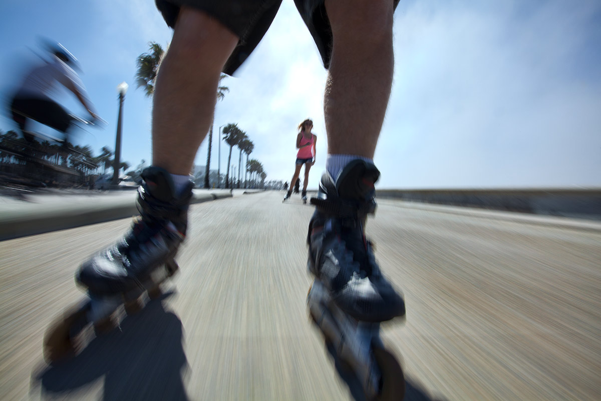 Holly rollerblading at Santa Monica Beach