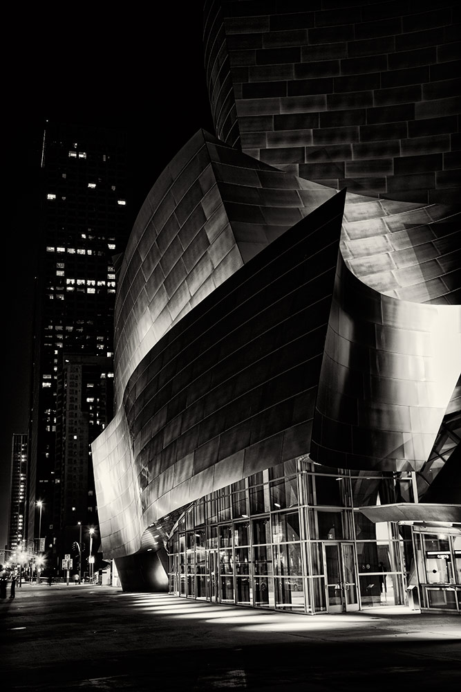 The Disney Concert Hall after dark