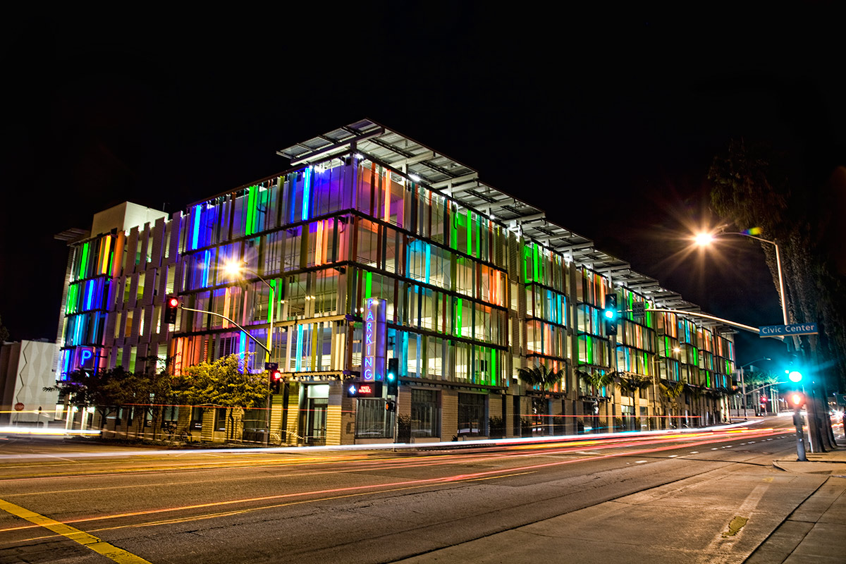 The neon parking garage, Santa Monica Library