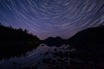 Star trails over Jordan Pond