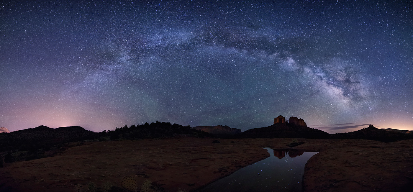 Milky Way panorama over Cathedral Rocks