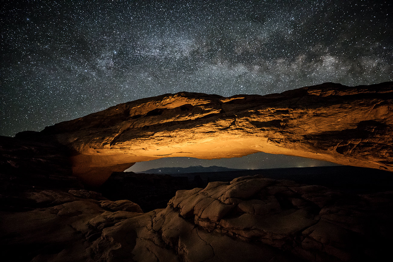 The Milky Way over Mesa Arch in Canyonlands