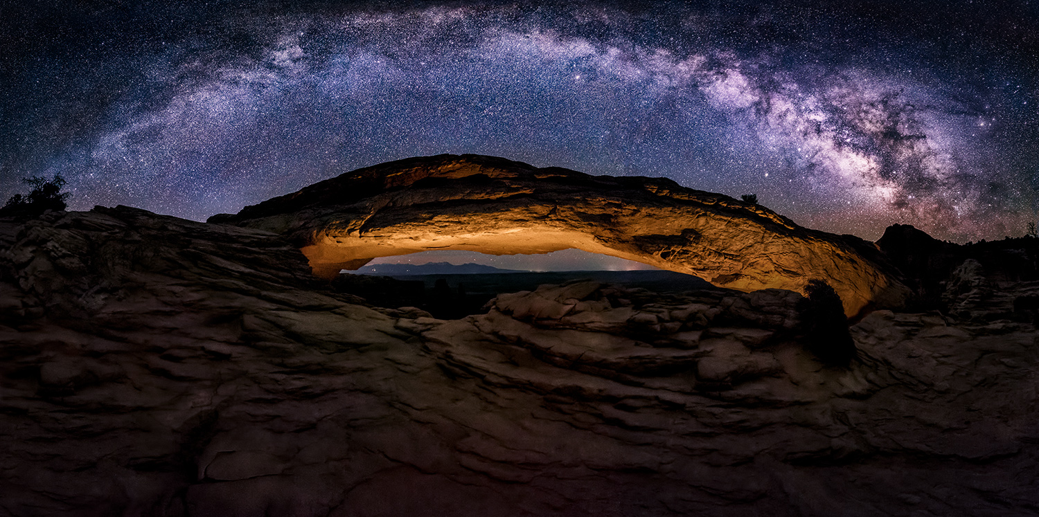 Milky Way panorama at Mesa Arch in Canyonlands