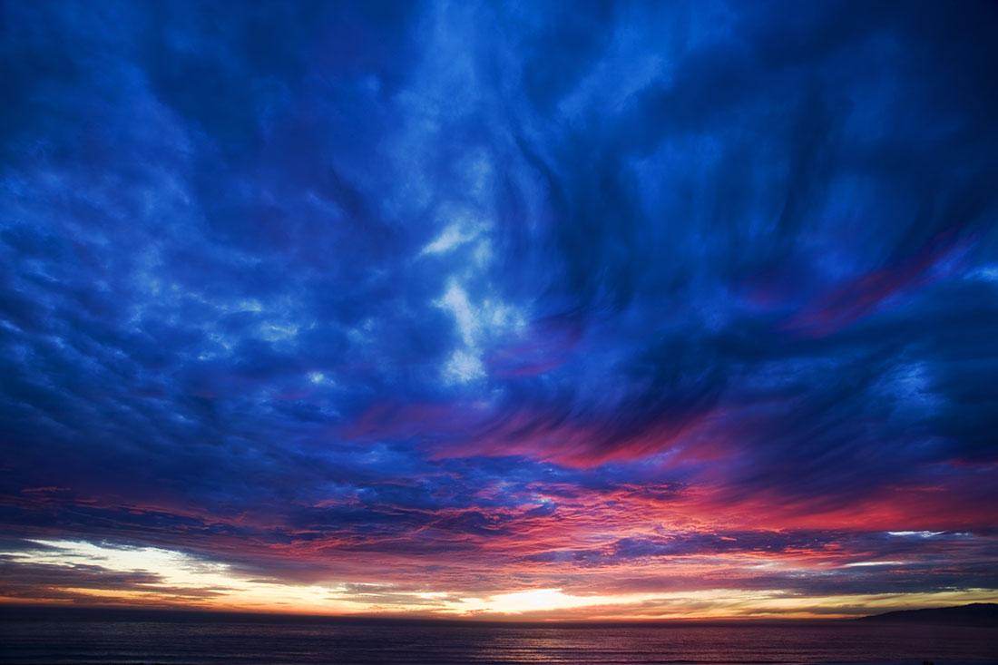 sunset at Santa Monica,  CA.