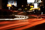 car trails on sunset blvd