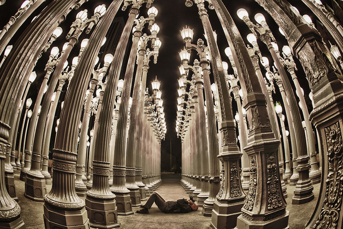 The lamp post sculpture at LACMA in Los Angeles