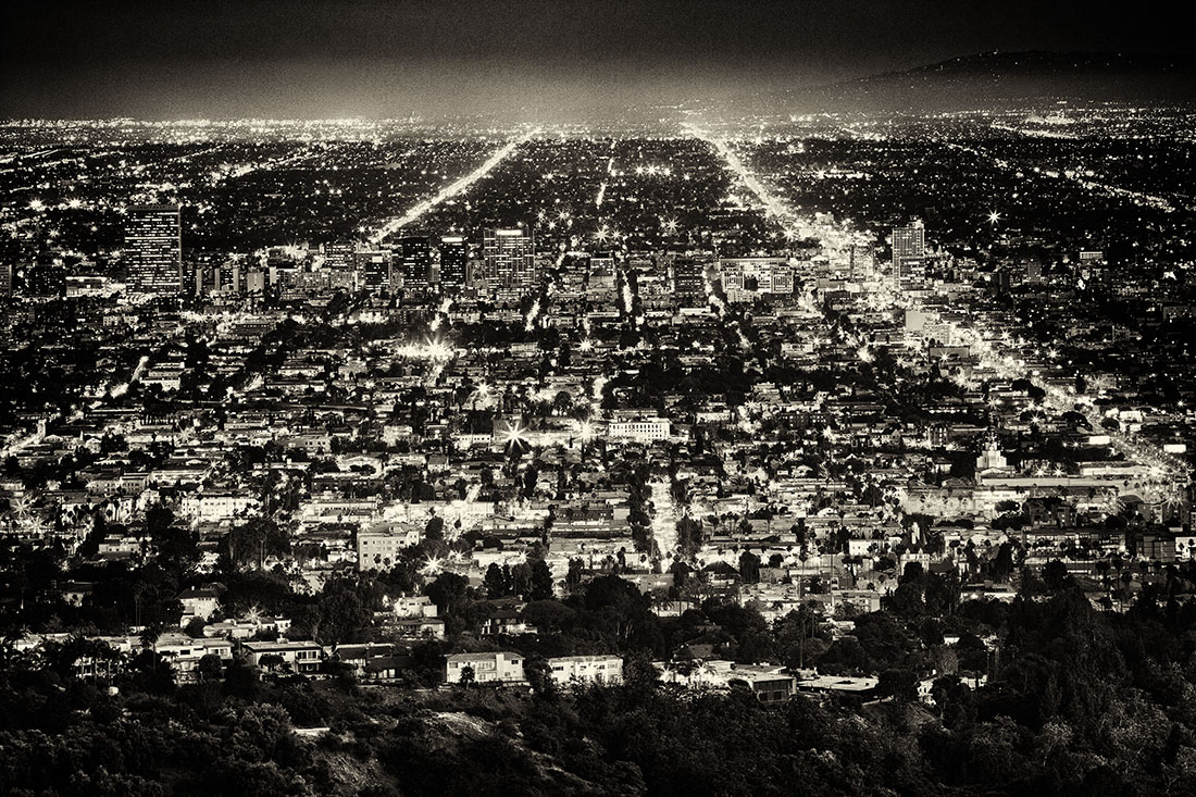 night vision: Above Los Angeles