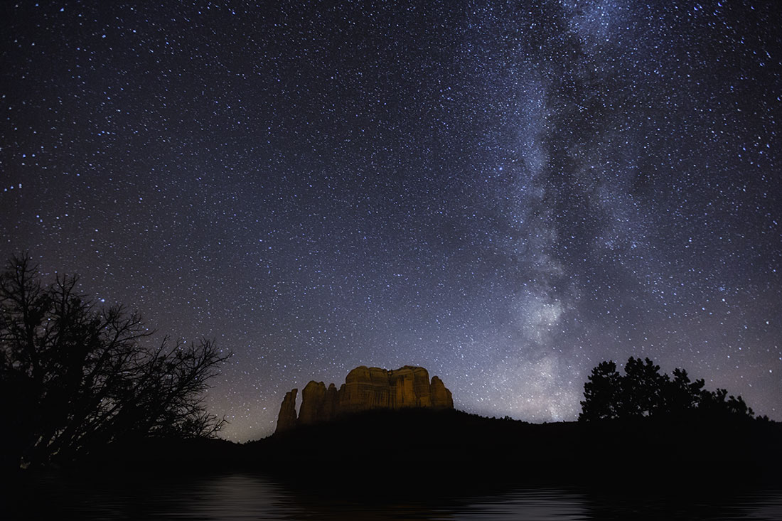 the milky way above cathedral rocks, sedona